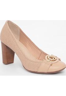 Sapato Em Couro Texturizado Com Aviamentos- Nude & Dourajorge Bischoff