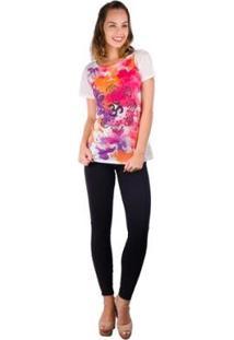 Camiseta Banna Hanna Sublimada Feminina - Feminino-Branco+Rosa