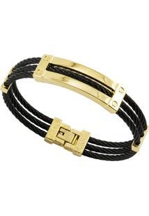 Bracelete Tudo Jóias De Aço Inox Cabo Náutico Black - Unissex