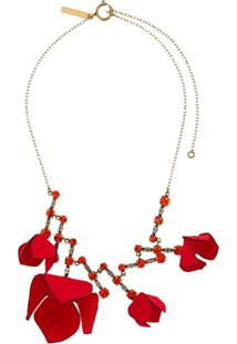 Marni Flower And Crystal-Embellished Necklace - Vermelho