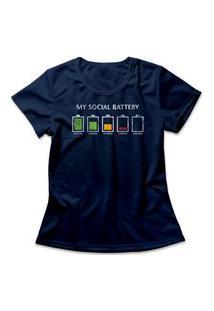 Camiseta Feminina Social Battery Azul Marinho