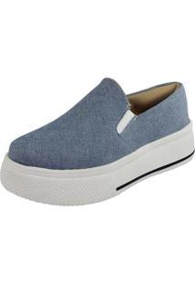 Tênis Slipper Fanuella Sola Alta 447201 Jeans Delavê Feminino - Feminino-Jeans