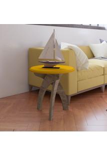 Mesa De Canto Jade Amarelo/Canela - Artely