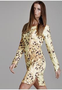Vestido Curto Crepe Manga Longa Trellis Fendas Laterais-Pp