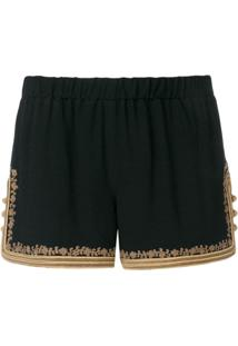 Saint Laurent Short Bordado - Preto