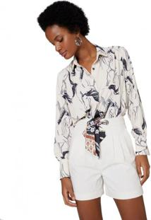 Amaro Feminino Camisa Crepe Franzido, Wild Horses