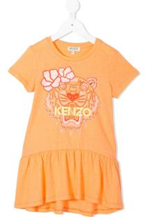 Kenzo Kids Vestido 'Tiger' Com Estampa - Laranja