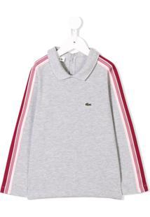 Lacoste Kids Camisa Polo Com Acabamento De Listras - Cinza