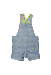 Conjunto Jardineira Infantil Jeans Grow Up G Azul
