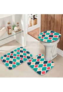 Jogo Tapetes Para Banheiro Geométrico Colorido
