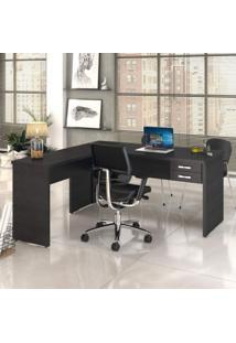 Mesa De Escritório Em L 1,60X1,60M Com 2 Gavetas Work30 Compace Preto Onix