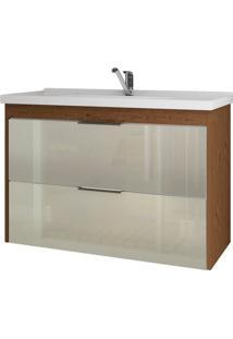 Gabinete De Banheiro Lavanda 1 Pt 1 Gv Amêndoa E Off White 79 Cm