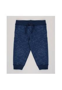Calça Infantil Básica Em Moletom Com Bolso Azul Marinho