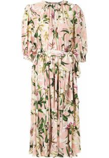 Dolce & Gabbana Vestido Franzido De Seda Estampado - Rosa