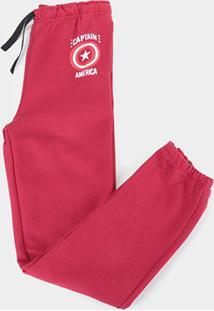 Calça Moletom Infantil Marvel Capitão América Masculina - Masculino-Vermelho
