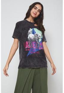 Camiseta Oh, Boy! Wonderlust Stonado Feminina - Feminino-Preto