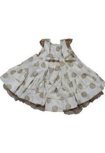 Vestido Para Bebê Pupila Bege Com Bolinhas E Renda Acompanha Faixa Para Cabelo Com Laço E Strass