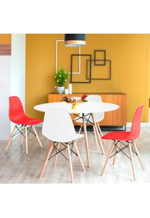 Conjunto De Mesa De Jantar Com 4 Cadeiras Eames Eiffel Branco E Vermelho