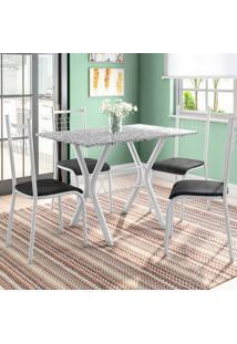 Conjunto De Mesa Miame Com 4 Cadeiras Lisboa Branco Prata E Petróleo