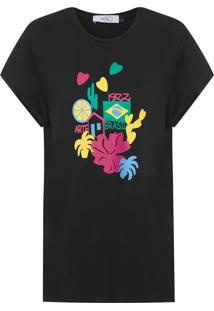 Camiseta Feminina Lisa Aplicações De Couro - Preto