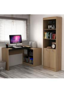 Escrivaninha E Estante Com 2 Portas Para Escritório-Ho-2960-Hecol - Avela / Onix