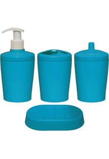 Kit Para Banheiro Ravi 4 Peças Azul