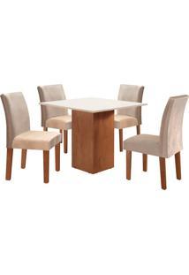 Conjunto De Mesa De Jantar Dakota Com 4 Cadeiras Classic Ll Suede Off White E Bege