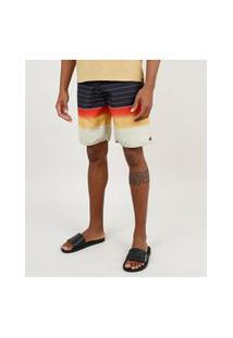 Bermuda Surf Masculina Listrada Com Bolsos Preta