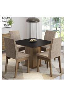 Conjunto Sala De Jantar Madesa Cris Mesa Tampo De Madeira Com 4 Cadeiras Rustic/Preto/Fendi