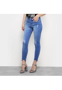 3c4ed36e6 Calça Skinny Colcci Base Bia Rasgada Barra Assimétrica Feminina - Feminino