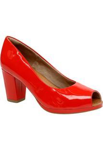 Peep Toe Em Couro Envernizado - Vermelho- Salto: 8Cmusaflex