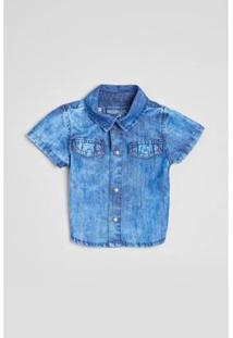 Camisa Bebê Indigo Suave Reserva Mini Masculina - Masculino-Azul