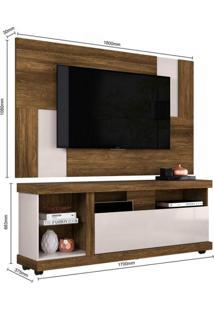 Rack Ilhabela Com Painel Para Tv Até 55 Polegadas 1 Porta Basculante Delfos Colibri Móveis Canela Rústico/Off White