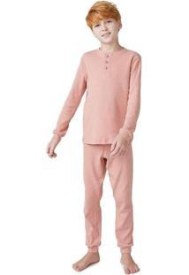 Pijama Infantil Unissex Em Ribana Manga Longa Rosa