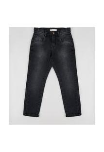 Calça Jeans Infantil Slim Preta