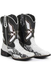 Bota Fakcini Texana Conforto Country Masculina - Masculino-Preto+Branco