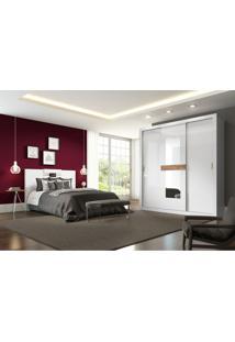 Conjunto Quarto Casal Com Armário Atualle, Box Florence E Cabeceira Extensível Flat