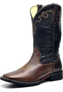 Bota Country Texana Top Franca Shoes Mustang Café / Preto