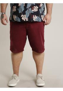 Bermuda De Sarja Masculina Plus Size Reta Com Bolsos Vinho