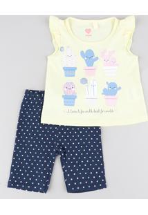 Conjunto Infantil De Regata Com Babado Amarelo Claro + Bermuda Estampada De Poá Azul Marinho