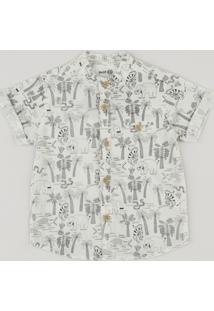 Camisa Infantil Bento Estampada Floresta Gola Padre Manga Curta Off White