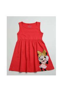 Vestido Infantil Sem Manga Minnie Disney Tam 1 A 4