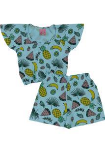 Conjunto Infantil 2 Peças Cropped Frutas Cítricas Azul Lumagy
