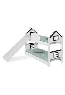Beliche Infantil Casa Adesivada Preta Com Escorregador Casah