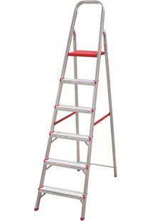 Escada Em Alumínio Com 6 Degraus Prata