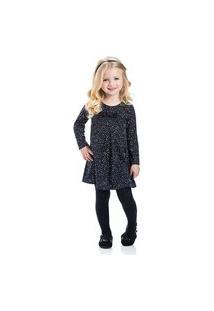 Vestido Infantil Cotton Com Meia Calça Tmx Poa Preto