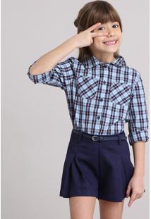 48fafab73 Camisa Infantil Xadrez Com Bolsos Manga Longa Azul Claro