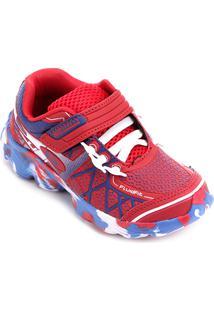 3b44589b121 Tênis Infantil No Stress Running Velcro - Masculino-Vermelho+Azul