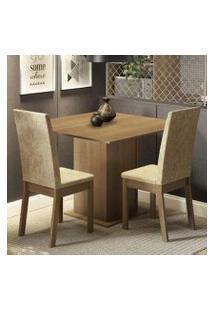Conjunto Sala De Jantar Madesa Nati Mesa Tampo De Madeira Com 2 Cadeiras Rustic/Imperial