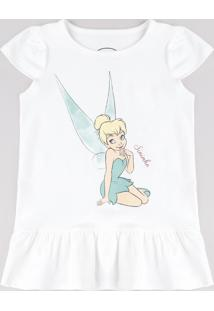 Vestido Infantil Sininho Peter Pan Com Babado Manga Curta Off White